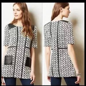 Anthropologie Faux Leather Trim Tunic